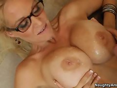 Scorching Charlee Chase gets her huge melons glazed