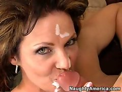 Deauxma a hot ho gets a spurt of cum on her face after one hot action