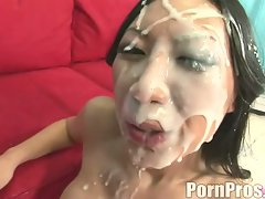 Super hotty Tia Ling loves the warmth of a hot explosion of jizz on her face