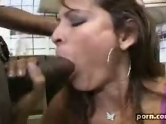 Super slut Monique Fuentes squats in the kitchen sucking on huge black bone