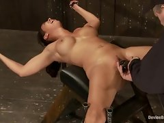 Cum lover is clamped down while her aching twat is vibed by a mean master