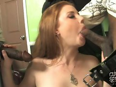 Slut Cherry Poppens sucks on these juicy black cocks