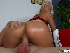 Jasmine Jolie rides her terrific ass on a huge throbbing cock