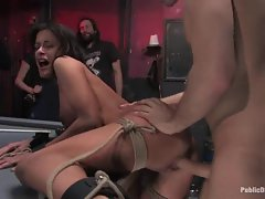 Hogtied honey getting her dripping cunt pulverized repeatedly