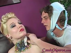 Candy Monroe let hot dude clean cum from black guy