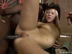 Hot blonde gets her tight ass reamed deep by big black cock.
