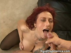 Nikki Sinn working her sexy milf body on a cock and then getting  a cumshot