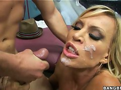 Dirty girls like Amber Lynn look best with a face full of hot sticky cum