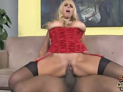 Samantha Silver bumping with black man's rod-on cock