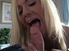 Kaylee Hilton with braces licking the dickhead