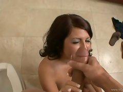 Slutty Skyla Paige gets her face sprayed with nut juice