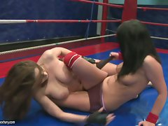 Lexy Little having a great cat fight in the ring
