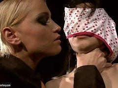 Kathia Nobili blind folded a hot babe with panty