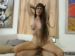 Alxandra Silk hairy milf in glasses take a hard cock