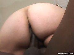 Plump brunette slamming her steamy twat on black cock