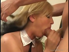 Gorgeous Alexis Malone gags on a massive fuck stick