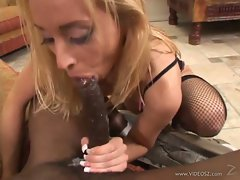 Kelly Wells sucking of long dick of black dude