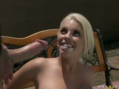 Britney Amber get a penis cum from her tennis partner