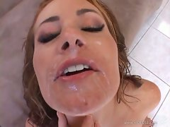Ginger Lee got her face filled with cum too much