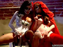 Alexis Amore and hot babe on chair with face painted