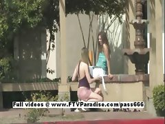 Anna and Amber tender lusty lesbians kissing