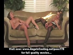 Lesbian milfs in 69 and licking pussy on floor and toying pussy