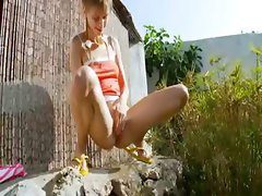 Peeing of beautiful lithuanian teenager