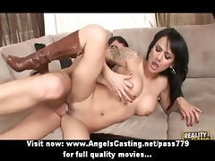 Busty brunette with boots fucking and sucking cock in threesome