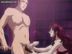 Redhead anime milf jerking a cock