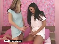 Hot brunette and blonde babes get horny part6
