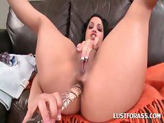 Lusty slut gets butt hole dildo fucked