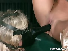 Sexy slut brings girlfriend on a leash part4