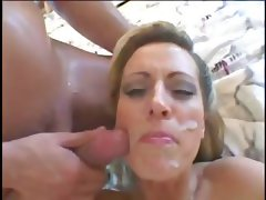 Busty blonde mom rubs pussy, gets two cocks and a messy facial