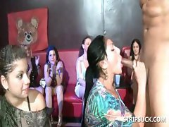 Hoes have fun playing with stripper's shaft