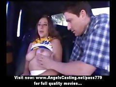 Stunning redhead cheerleader teen doing blowjob on the car