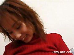 Japanese babe vibing her lusty assets