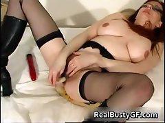 Stunning round tits mom dildo fucked part2