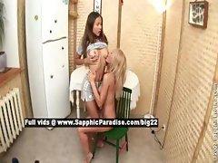 Jodi and Charlena lesbo teen babes teasing