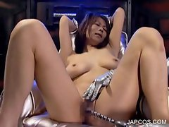 Asian slave getting boobs and cunt toyed