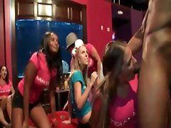 Orgy with hoes working stripper's shaft