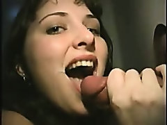 A pretty brunette sucks and fucks a stranger