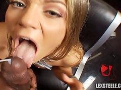 Fine pornstar babe sucks and fucks
