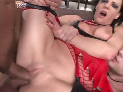 Aliz brutally double penetrated and ass fucked so hard that her makeup is all smeared out