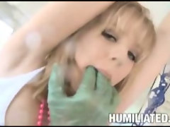 Machines and fingers make blond squirt