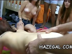 Oiled babes in lesbo fun