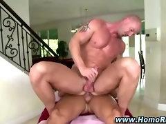 Gay bear masseuse fucks straight guy in ass