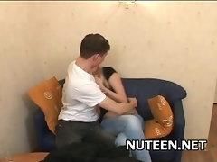 Lustful man kisses girl's