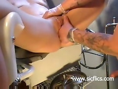 Brutally fist fucked amateur whore has her cunt stretched by a perverted doctor