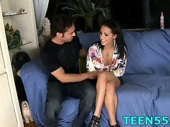 Teen tries her biggest dick ever