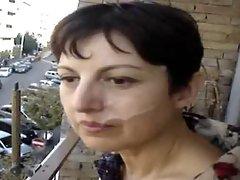 Public facial on the balcony